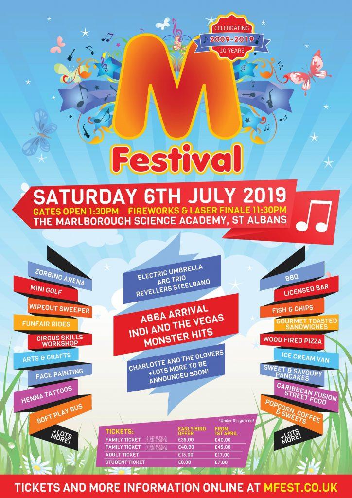 M Festival, St Albans, Marlborough School, M festival 2019, M Festival sponsor, EYES on St Albans